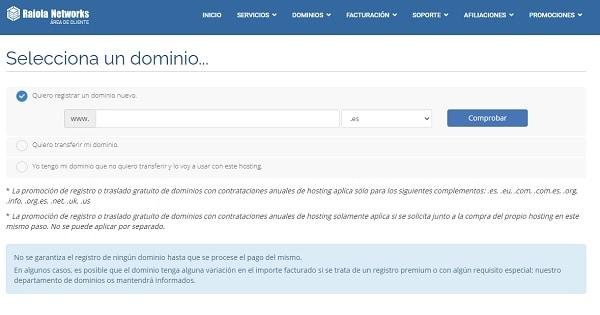 elegir dominio en raiola networks