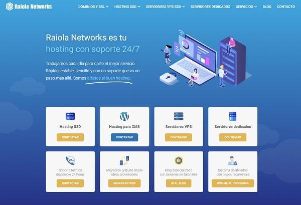 elegir el tipo de hosting en raiola networks