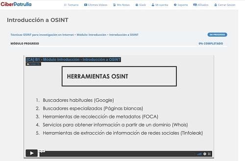 plataforma curso osint online por dentro